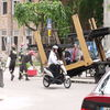 Laweta oderwała się od tira, blokując ulicę w centrum Mławy