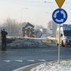 Cysterna wciąż blokuje drogę w Lubawie