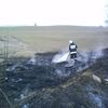 Płonęła trawa i opony