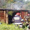 Pożar derwnianego kontenera w Kamieniu Dużym