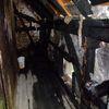 Spalony budynek w Nikutowie