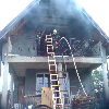 Pożar domku jednorodzinnego w Komorowie