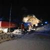 Pożar w Wołownie. Nocna walka strażaków